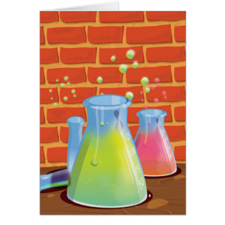 Cartoon Glass Science equipment on a bench Greeting Card