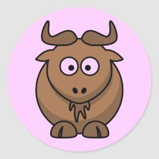 Cartoon Gnu Classic Round Sticker