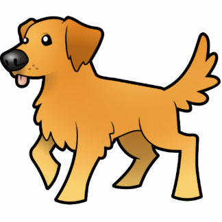 Cartoon Golden Retriever Photo Sculpture Magnet