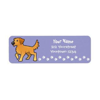 Cartoon Golden Retriever Return Address Label