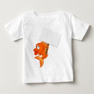 Cartoon Goldfish Holding Sign Baby T-Shirt