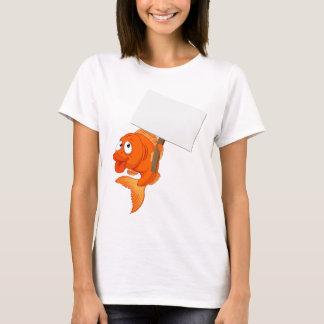 Cartoon Goldfish Holding Sign T-Shirt