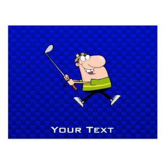 Cartoon Golfer; Blue Postcards