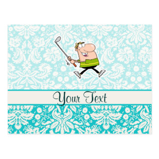 Cartoon Golfer; Cute Postcard