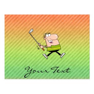 Cartoon Golfer design Post Cards