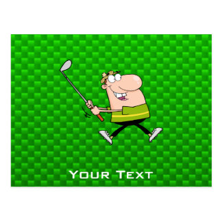 Cartoon Golfer; Green Postcard