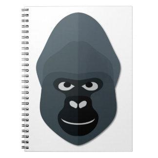 Cartoon Gorilla Head Spiral Note Books