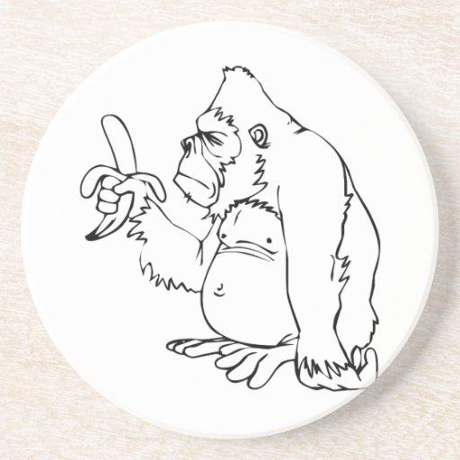 Cartoon Gorilla Holding a Banana Drink Coasters