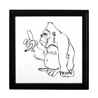 Cartoon Gorilla Holding a Banana Gift Box