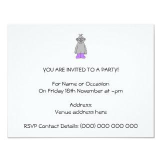 Cartoon Gorilla in Purple Boots. 11 Cm X 14 Cm Invitation Card