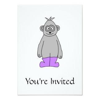 Cartoon Gorilla in Purple Boots. 13 Cm X 18 Cm Invitation Card