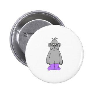 Cartoon Gorilla in Purple Boots Pin