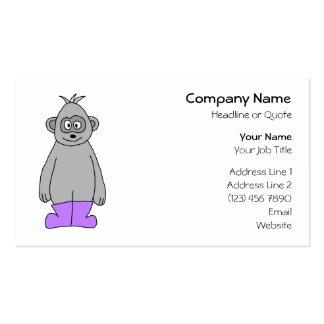 Cartoon Gorilla in Purple Boots. Business Card Templates