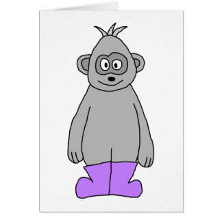 Cartoon Gorilla in Purple Boots. Greeting Card