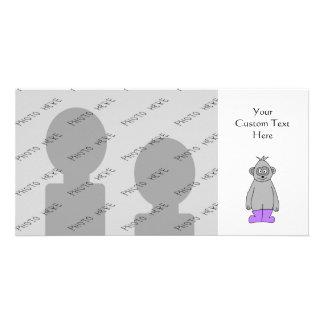 Cartoon Gorilla in Purple Boots. Picture Card
