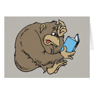 cartoon gorilla reading book card