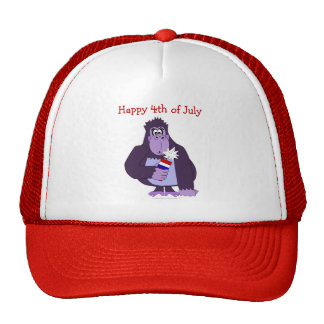 Cartoon Gorilla with Fireworks Funny July 4 Hat