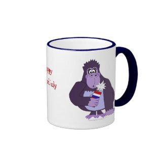 Cartoon Gorilla with Fireworks Funny July 4 Mug