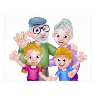 Cartoon Grandparents and Grandchildren Postcard