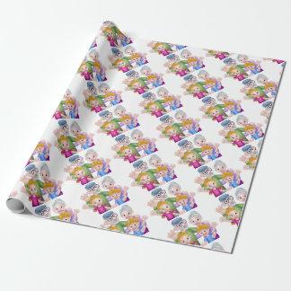 Cartoon Grandparents and Grandchildren Wrapping Paper