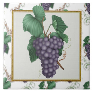 Cartoon Grapes Kitchen or Restraunt Tile
