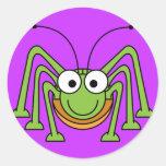 Cartoon Grasshopper Round Stickers