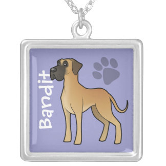 Cartoon Great Dane (add your pets name) Silver Plated Necklace