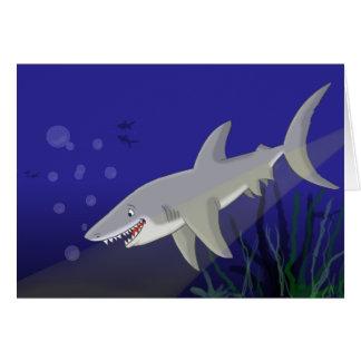 Cartoon Great White Shark Greeting Card