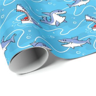 Cartoon Great White Sharks Wrapping Paper