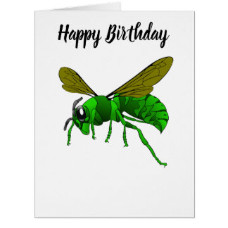 Cartoon green and lime hornet wasp bee card