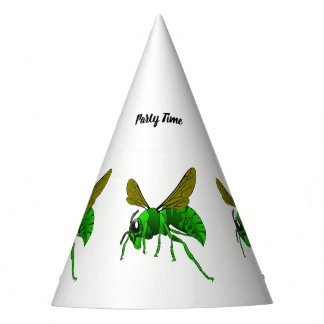 Cartoon green and lime hornet wasp bee party hat