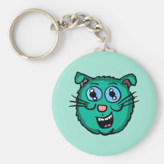 Cartoon Green Cat Head Key Ring