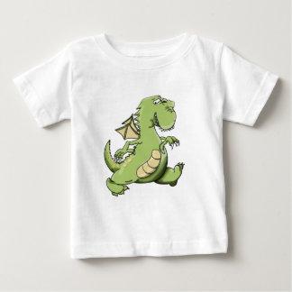 Cartoon green dragon walking on his back feet baby T-Shirt