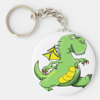 Cartoon green dragon walking on his back feet key ring