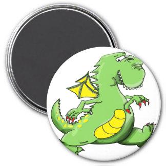 Cartoon green dragon walking on his back feet magnet