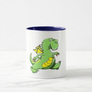 Cartoon green dragon walking on his back feet mug