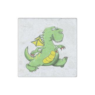 Cartoon green dragon walking on his back feet stone magnet