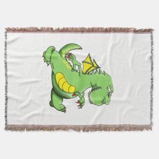 Cartoon green dragon walking on his back feet throw blanket