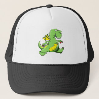 Cartoon green dragon walking on his back feet trucker hat