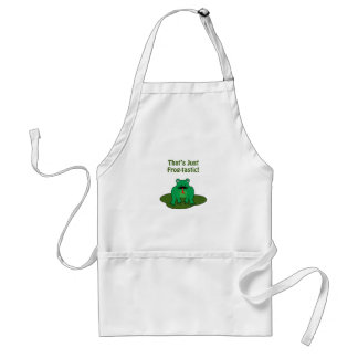 Cartoon green frog That's Just Frog-Tastic Aprons