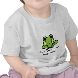 cartoon green speckled frog customisable tee shirts