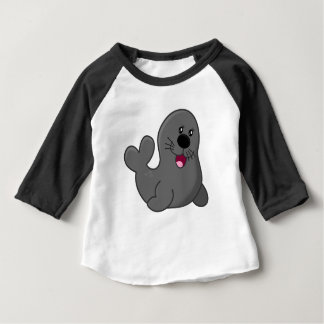 Cartoon Grey Seal Baby T-Shirt
