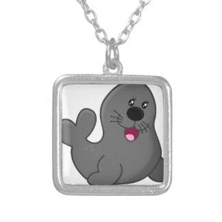 Cartoon Grey Seal Silver Plated Necklace