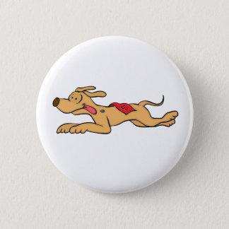Cartoon greyhound dog racing 6 cm round badge