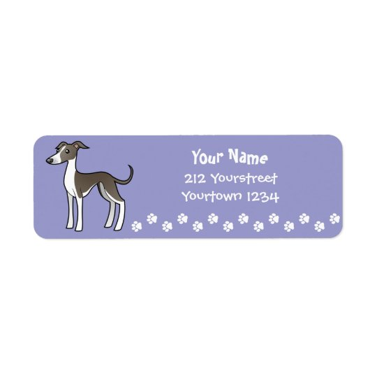 Cartoon Greyhound / Whippet / Italian Greyhound Return Address Label