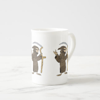 cartoon grim reaper. tea cup