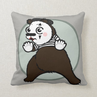 CARTOON GRIZZLY BEAR MIME SQUARE THROW PILLOW