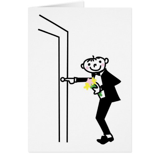 Cartoon Groom Rings Doorbell Greeting Cards