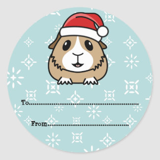 Cartoon Guinea Pig Christmas Gift Labels Round Sticker
