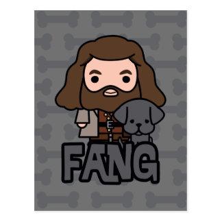 Cartoon Hagrid and Fang Character Art Postcard
